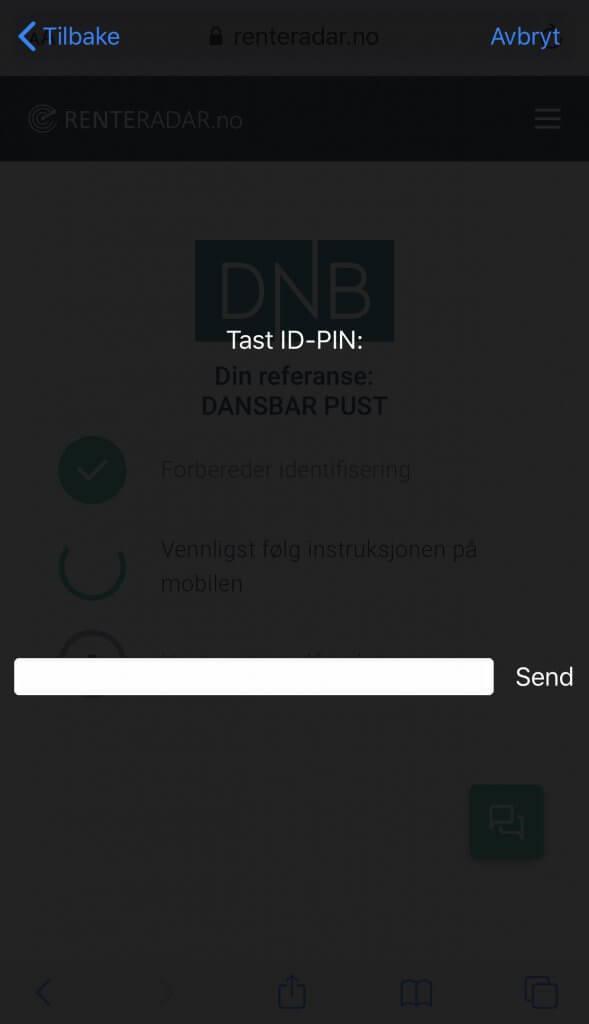 Steg 4: Login Bankd ID på mobil på Renteradar.no