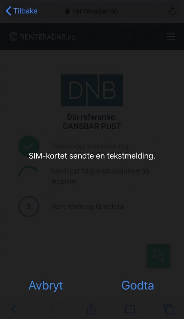 Steg 5: Login Bankd ID på mobil på Renteradar.no