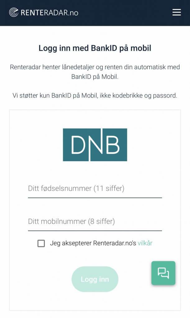 Steg 1: Login Bankd ID på mobil på Renteradar.no