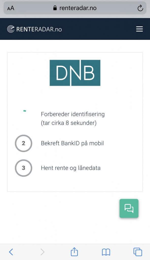 Steg 2: Login Bankd ID på mobil på Renteradar.no