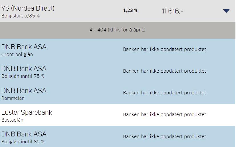 DNB oppdaterer ikke priser på Finansportalen